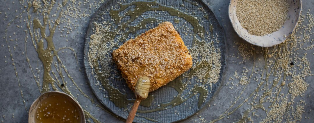 Baked Feta with Sesame Crust and Honey